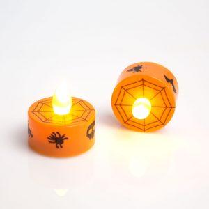 Led čajna svečka - noč čarovnic, oranžna - 2 kosa / paket