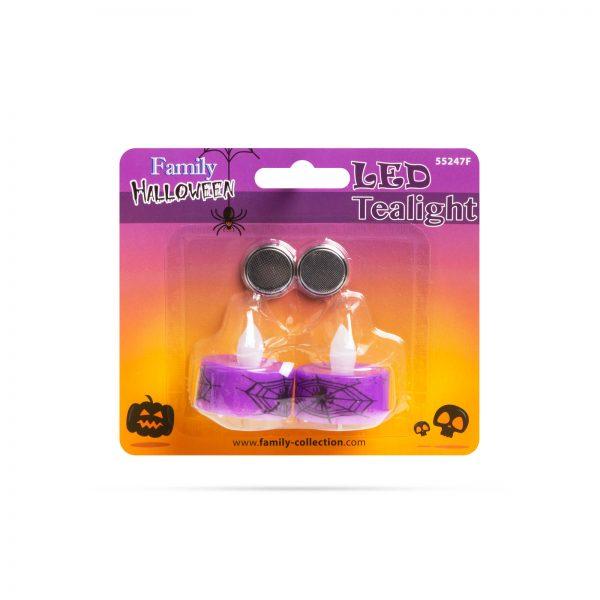 LED čajna svečka - noč čarovnic, vijolična - 2 kosa / paket