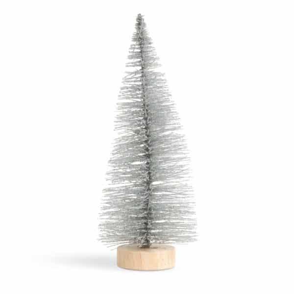Mini dekor umetno božično drevesce - bor - 15 cm - bleščeča srebrna