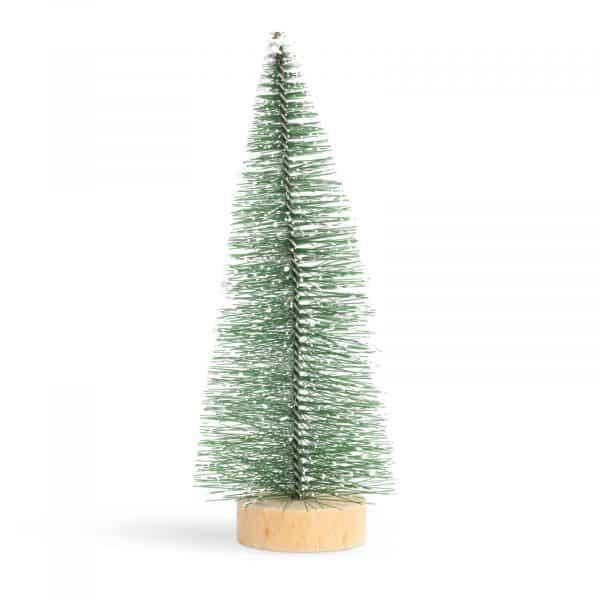 Mini dekor umetno božično drevesce - bor - 15 cm - zasneženo bela