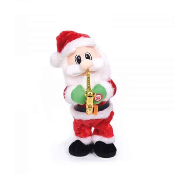 Plešoči božiček s saksofonom - 35 cm - na baterije