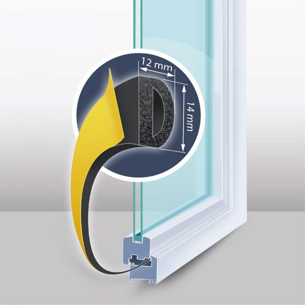 """Samolepilni tesnilni trak za vrata / okna - Profil """"D"""" - 40 m - črna barva 12 mm"""