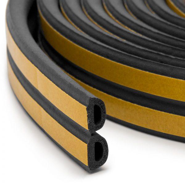 """Samolepilni tesnilni trak za vrata / okna - Profil """"D"""" - 50 m - črna barva 15 mm"""