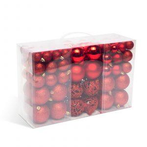 Set za okrasitev božičnega drevesca - kroglice - 100 kosov / paket - rdeča