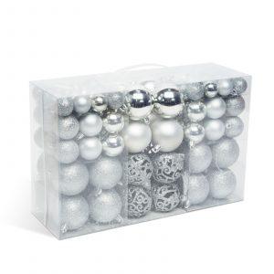 Set za okrasitev božičnega drevesca - kroglice - 100 kosov / paket - srebrna