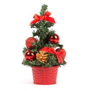 Umetno božično drevo - mini - rdeče - 20cm