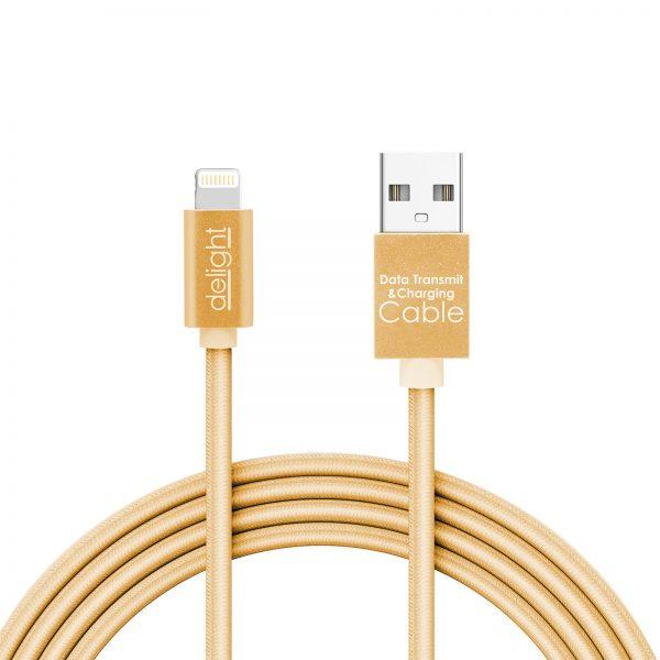 Podatkovni kabel - Lighting - z LED lučko - zlat - 1 m