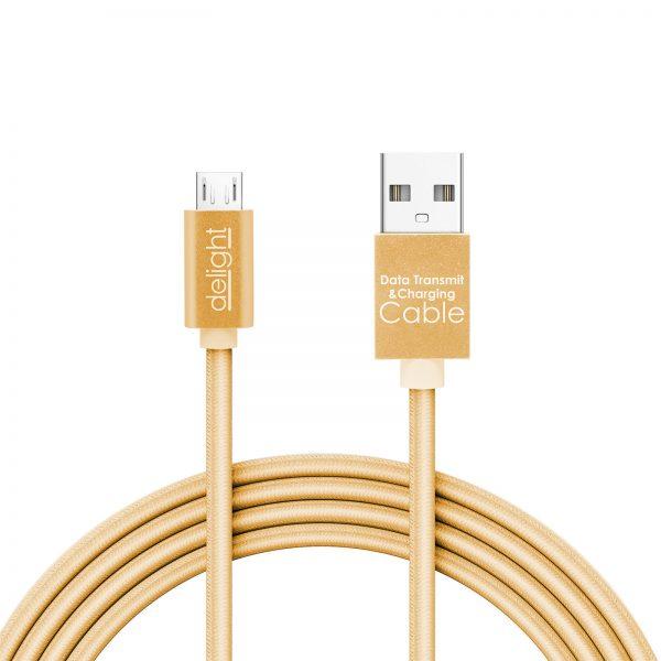 Podatkovni kabel - MicroUSB - z LED lučko - zlat - 1 m