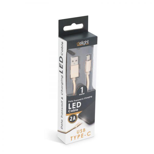 Podatkovni kabel - USB-C - z LED lučko - zlat - 1 m