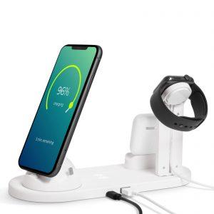 Polnilna postaja z brezžičnim polnilcem za mobilne telefone, ure, slušalke - bela