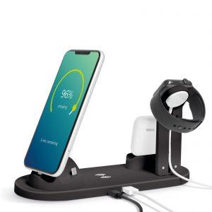 Polnilna postaja z brezžičnim polnilcem za mobilne telefone, ure, slušalke - črna