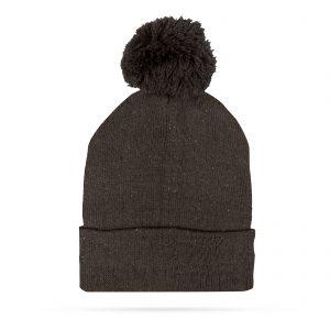 Zimska pletena kapa - črna - s cofom