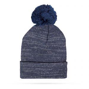 Zimska pletena kapa - modra - bleščeča - z cofom