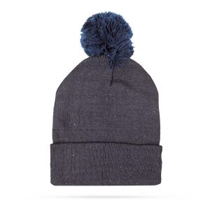 Zimska pletena kapa - modra - s cofom