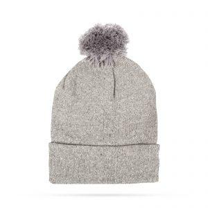 Zimska pletena kapa - siva - bleščeča - s cofom