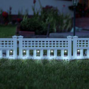 LED solarna ograja - 58 x 36 x 3,5 cm - hladno bela - 4 kos / komplet