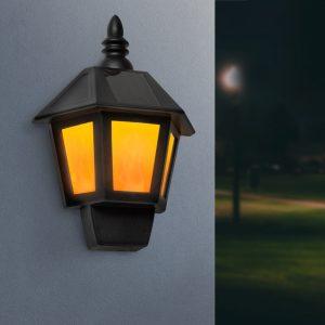 LED solarna stenska svetilka 2 v 1 z učinkom plamena, hladno bela LED - 28 x 19,5 x 9,6 cm