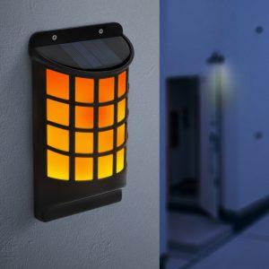 LED solarna stenska svetilka z učinkom plamena - črna, mrežasta tekstura - 18 x 10 cm