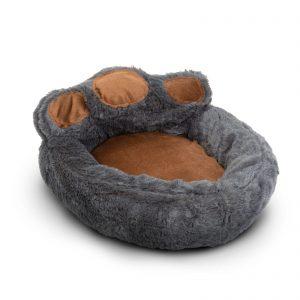 """Pasja postelja v obliki šape - velikost """"L"""" - sivo - rjava"""