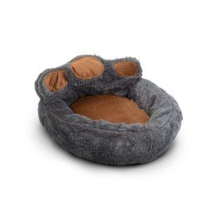 """Pasja postelja v obliki šape - velikost """"M"""" - sivo - rjava"""