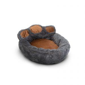 """Pasja postelja v obliki šape - velikost """"S"""" - sivo - rjava"""