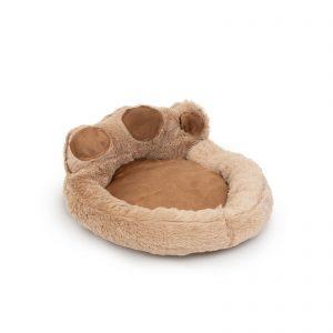 """Pasja postelja v obliki šape - velikost """"S"""" - svetlo rjava - rjava"""